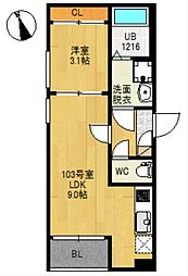 JR仙石線 榴ヶ岡駅 徒歩17分の賃貸アパート 3階1LDKの間取り