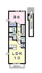 JR中央線 国立駅 徒歩16分の賃貸アパート 2階1Kの間取り