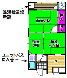 大阪府富田林市寿町2丁目の賃貸アパートの間取り