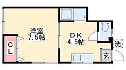 前羽アパート[1階]の間取り