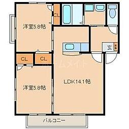 ラ・プランタン中央[2階]の間取り