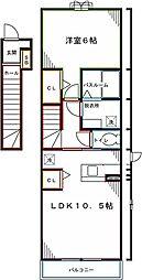 JR中央本線 西国分寺駅 徒歩12分の賃貸アパート 2階1LDKの間取り