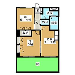 グランディールコートA棟[1階]の間取り