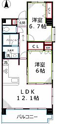 レジデンスケンセイ[6階]の間取り