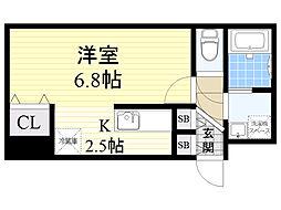 JR函館本線 桑園駅 徒歩5分の賃貸マンション 4階1Kの間取り