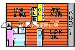 岡山県岡山市東区広谷丁目なしの賃貸マンションの間取り