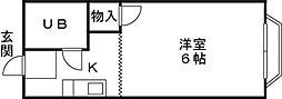 小杉ハイツ(I) 1階1Kの間取り