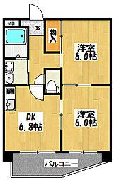 大阪府東大阪市西堤2丁目の賃貸マンションの間取り