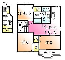 リヴァーサイドナミキA[2階]の間取り
