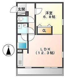 スタジオ ジー[4階]の間取り