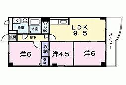 兵庫県西宮市大島町の賃貸マンションの間取り