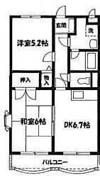 神奈川県大和市中央7丁目の賃貸マンションの間取り