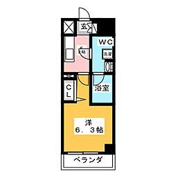 メインステージ武蔵小杉 4階1Kの間取り