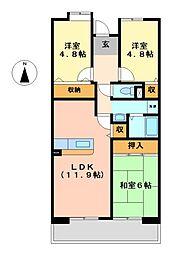 アーバンラフレ志賀24号棟[6階]の間取り