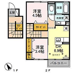 J-Room妃 弐番館[203号室号室]の間取り