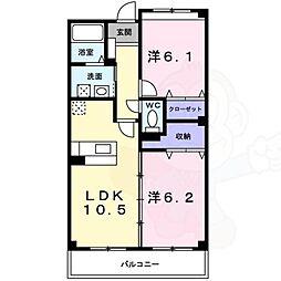 泉北高速鉄道 和泉中央駅 徒歩25分の賃貸マンション 1階2LDKの間取り