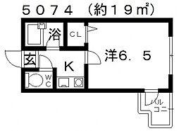 杉村ハイツII[203号室号室]の間取り