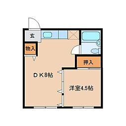 JR和歌山線 大和二見駅 徒歩7分の賃貸マンション 2階1DKの間取り