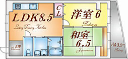 兵庫県神戸市長田区丸山町1丁目の賃貸マンションの間取り