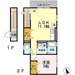 西武新宿線 新井薬師前駅 徒歩13分の賃貸アパート 2階1LDKの間取り