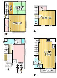 Osaka Metro谷町線 大日駅 徒歩15分の賃貸一戸建て 1階4LDKの間取り