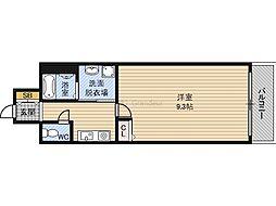 GOパレス桃山台 3階1Kの間取り