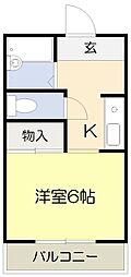 大阪府箕面市小野原東6丁目の賃貸アパートの間取り