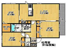 ロアールメゾンハマダC棟[1階]の間取り