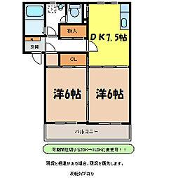 長野県伊那市狐島の賃貸マンションの間取り
