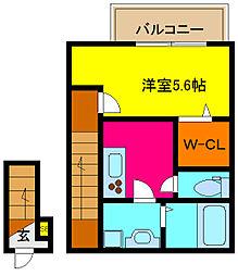 大阪府東大阪市末広町の賃貸アパートの間取り