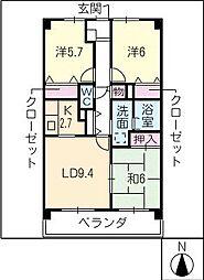 グランドメゾン熊野[1階]の間取り