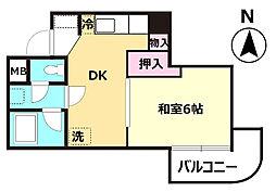 エミナス浅草 4階1DKの間取り