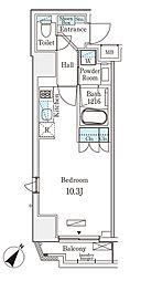 都営新宿線 岩本町駅 徒歩6分の賃貸マンション 8階ワンルームの間取り