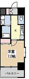 ヒュッテンベルケ大阪なんば 6階1Kの間取り