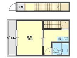 石才ワンルーム[2階]の間取り