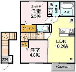 岡山県岡山市東区藤井丁目なしの賃貸アパートの間取り