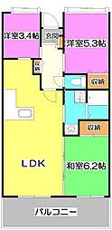埼玉県富士見市ふじみ野西1丁目の賃貸マンションの間取り
