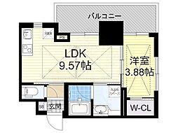 ノルデンタワー江坂プレミアム 13階1LDKの間取り