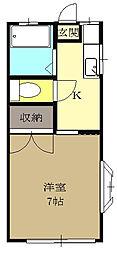 JR東北本線 仙台駅 バス15分 神社前下車 徒歩1分の賃貸アパート 2階1Kの間取り