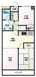 ロイヤルシティ四番館 4階3LDKの間取り