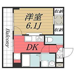 成田スカイアクセス 成田湯川駅 徒歩13分の賃貸マンション 3階1DKの間取り