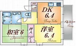 兵庫県神戸市長田区西山町3丁目の賃貸アパートの間取り