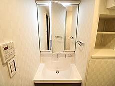 洗面横に、棚を設置し洗濯用洗剤やタオルなど仕舞えます
