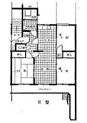 福岡県福岡市中央区福浜2丁目の賃貸マンションの間取り