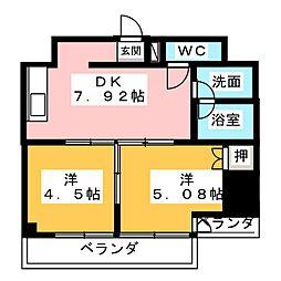 一ツ木マンション安井III[2階]の間取り