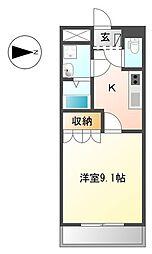 JR東海道本線 大垣駅 徒歩8分の賃貸アパート 1階1Kの間取り