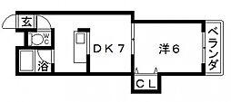 大阪府大阪市住吉区山之内1丁目の賃貸マンションの間取り