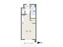 JR鹿児島本線 崇城大学前駅 徒歩4分の賃貸マンション 2階ワンルームの間取り