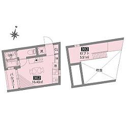 小田急小田原線 豪徳寺駅 徒歩6分の賃貸テラスハウス 3階1SKの間取り