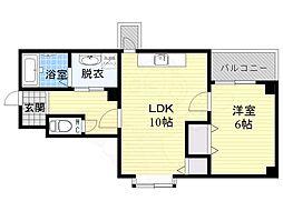 Osaka Metro谷町線 太子橋今市駅 徒歩1分の賃貸マンション 2階1LDKの間取り